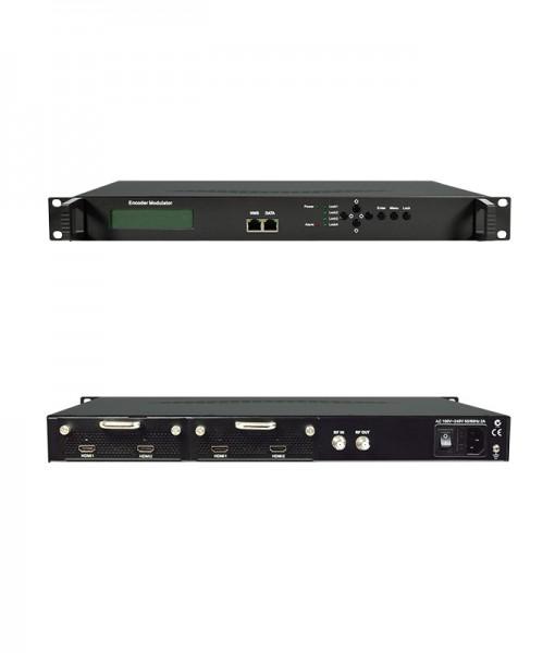 Digital Modulator, 19 Inch Rack 4 Input HDMI To DVB-T MPEG4 IP UDP RF In RF Out